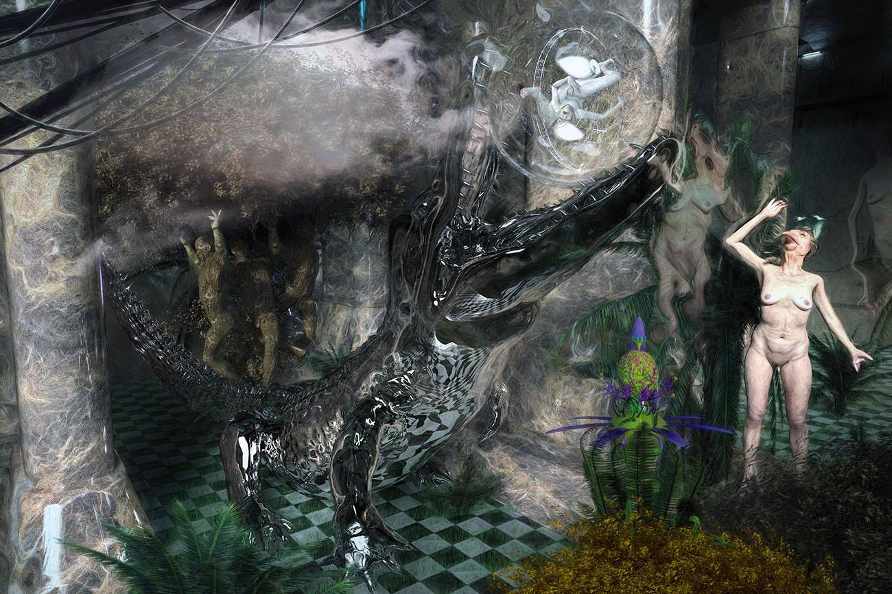 Proserpine et l'alligator au Jardin d'Eden