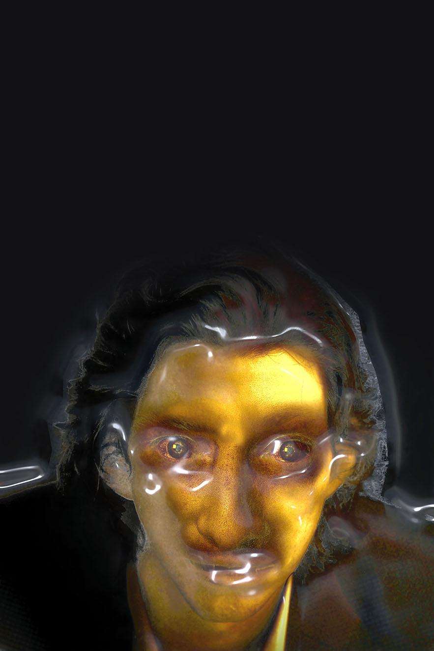 Portrait en jaune sous blister