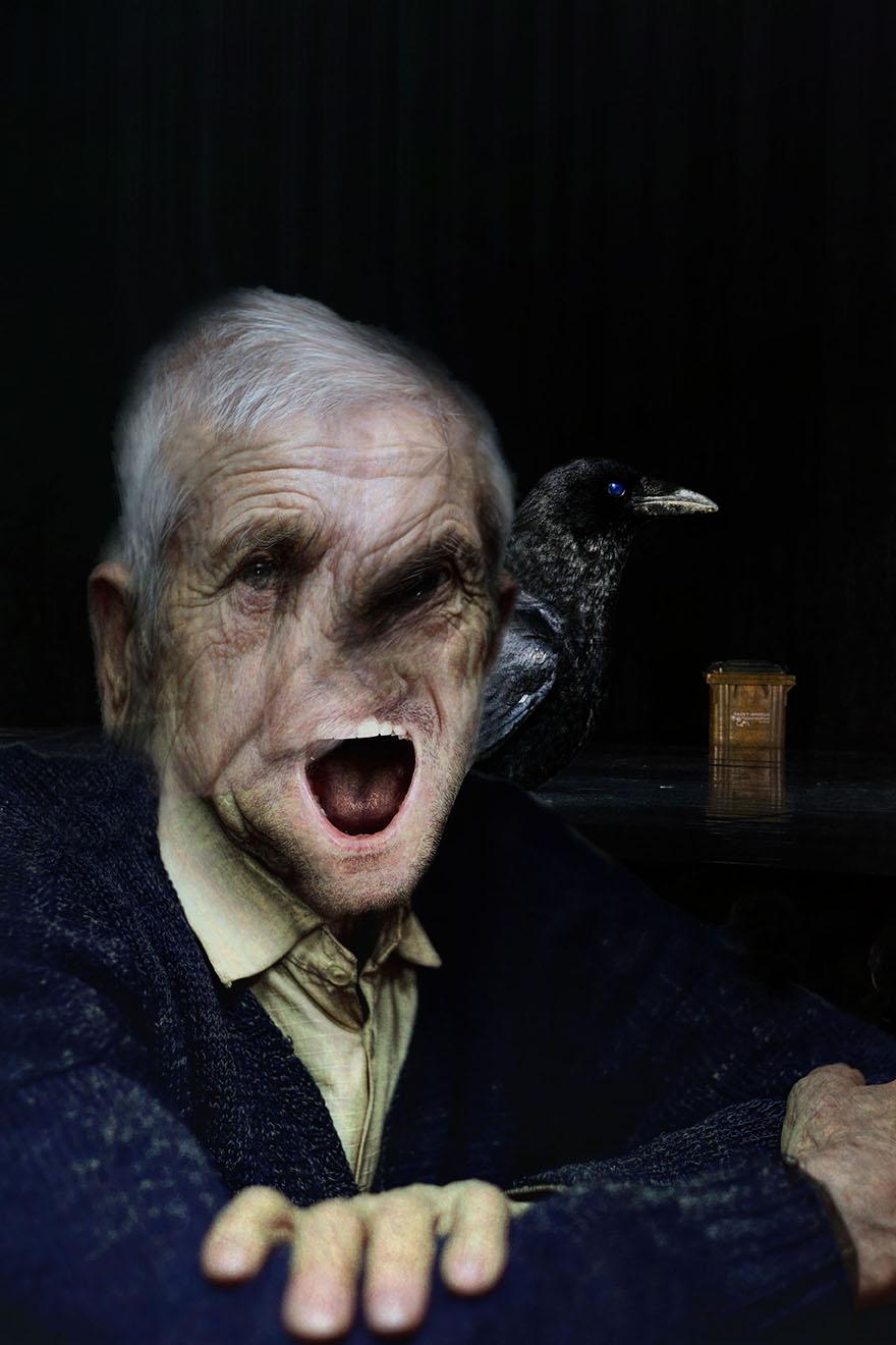 Portrait avec corbeau - Le vieil homme